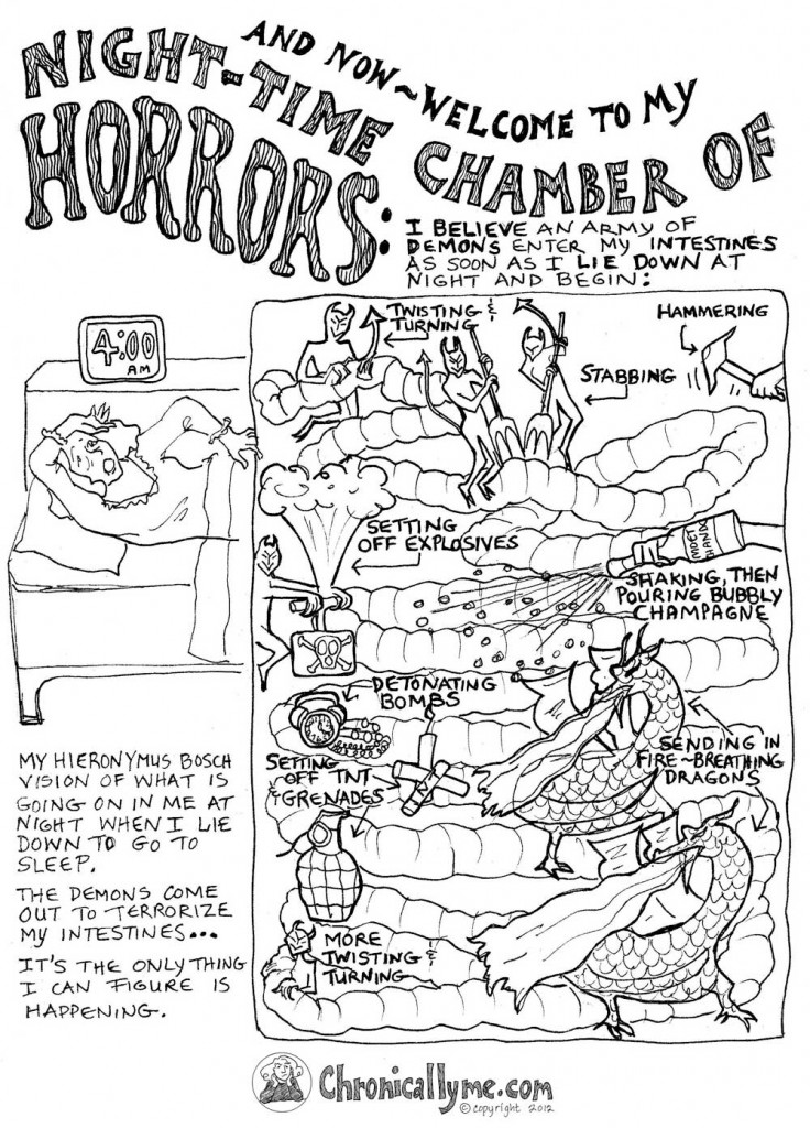 Literal Transcription of Cartoon #5:   And Now Welcome to my Night-Time Chamber of Horrors: I believe an army of demons enter my intestines as soon as I lie down at night and begin:   Twisting and Turning Stabbing Hammering Setting off explosives Shaking, then pouring bubbly champagne Detonating bombs setting off TNT and Grenades Sending in Fire-breathing Dragons More Twisting and Turning   My Heironymous Bosch vision of what is going on in at night when I lie down to go to sleep.   The Demons come out to terrorize my intestines... It's the only thing I can figure is happening.